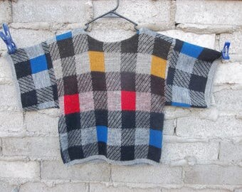 Vintage Blouse Sweater Knit Plaid 1970s 80s Cropped Style Hipster Casual Chill Street Clothes Skater Surfer Grunge Small