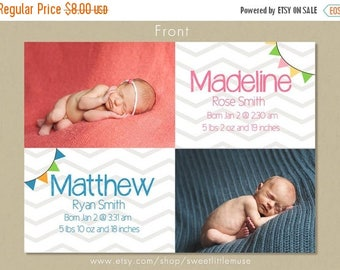 ON SALE Twins birth announcement - birth announcement template - instant download