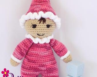 Baby Girl Doll / Crochet Baby Girl Doll / My First Doll / Stuffed Pink-Multi Baby Girl Doll / Plush Pink Baby Girl Doll / Crochet Stuffy