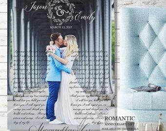 Wedding Vows Personalized Wedding Gift Wedding Signs, Wedding Gift for Couple Wedding Canvas Anniversary Gift Engagement Gift Wedding Lyrics