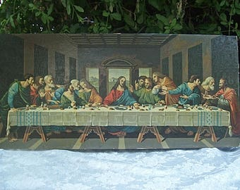 Large Vintage Circa 1950's PAINT-BY-NUMBER Masterpiece Painting of Leonardo Da Vinci's Last Supper