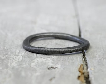 Silver Ring stacking ring Matt brushed, blackened, antique finish, used look, collector ring, 2mm, 925 sterling silver, organic form