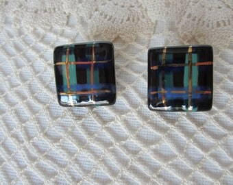 VINTAGE Ceramic Square Clip Earrings