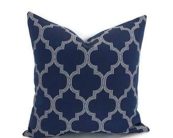 Navy Blue Moroccan Trellis Pillow Cover