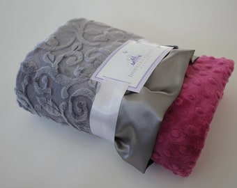 Gray Embossed Vine Minky with Orchid Dimple Dot MInky - Baby Blanket, Finished with a Gray Satin Trim - Baby Girl, Crib Bedding, Nursery