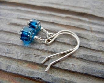 Petite Blue and Silver Cathedral Dangle Earrings - Sterling Silver Earrings - Minimalistic Earrings - Everyday Earrings