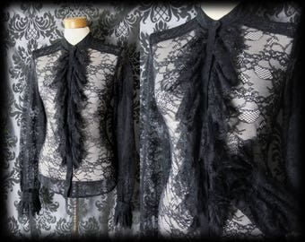Goth Black Sheer Lace STRICT GOVERNESS Frill Bib Blouse 10 12 Victorian Vintage