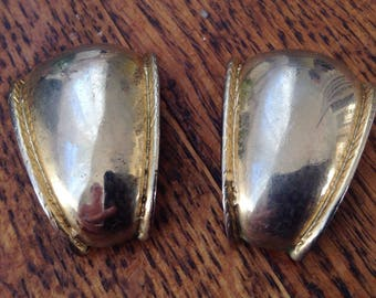 Gold tone clip on earrings - Curved