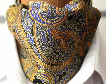 Ascot,men ascot,Ascot tie,colorful,Paisley gold-blue