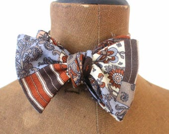 self tie bow tie, bow-tie, menbow,hand bound bow in brown shades