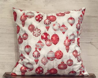 Christmas pillow cover - Red and White pillow - Holiday pillow - Xmas pillow - Seasonal Pillow - Red Ornament - 18x18 pillow - Sofa Pillow