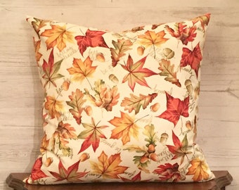Leaf Pillow - Maple Leaves - Pillow for Fall - Fall Throw Pillow - Pillow with Words - Autumn Pillow -  Autumn Decor - Acorns