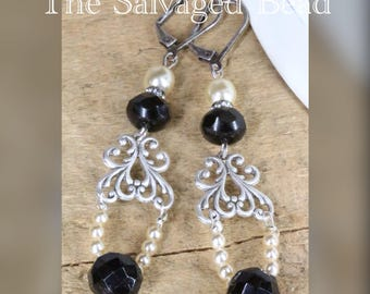 Antique Victorian Pearl and Black Button Earrings, circa 1920's by The Salvaged Bead