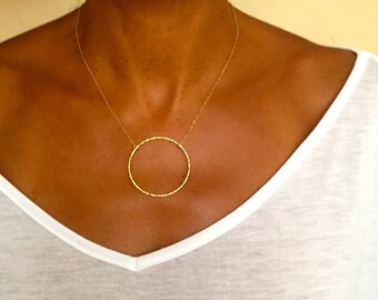 Circle pendant necklace- Large gold circle necklace- Circle necklace- 14k gold filled or sterling silver