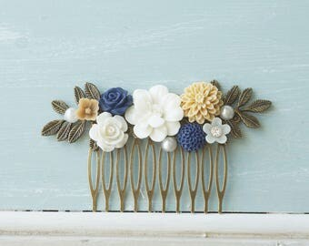 Hair comb, ivory, navy, and beige pearl and bronze hair comb