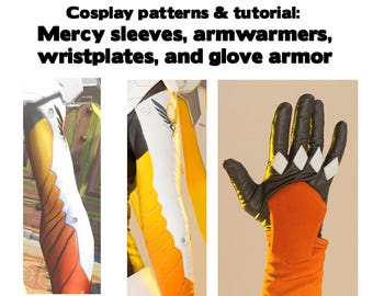 Printable Overwatch Mercy cosplay armor pattern with tutorial - sleeves wristpads and glove armor - arm sleeve digital download ZIP costume