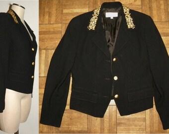 1980's 90s Black & Gold Blazer / Black with Gold Embroidery Evening Jacket / Formal / dress /  Vintage size 4