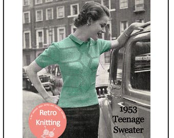 1950s Preppy Sweater -  1950's Knitting Pattern - PDF Instant Download Pattern