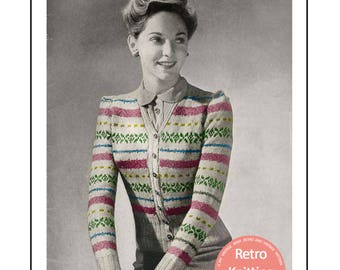 1940's Fair Isle Cardigan Knitting Pattern - PDF Instant Download Pattern