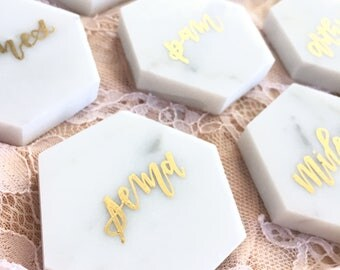 Marble Place Cards / Wedding Place Cards / Escort Cards / Tile Place Cards / Unique Place Cards / Calligraphy Place Cards / Calligraphy