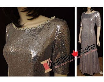 Silver sequin bridesmaid dress, sequin gown, long sequin dress, sequin formal gown