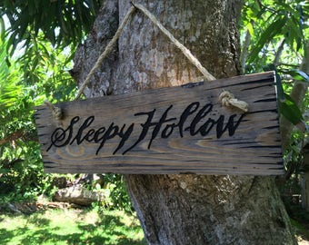 Halloween Old Sleepy Hollow wood sign rustic antique look