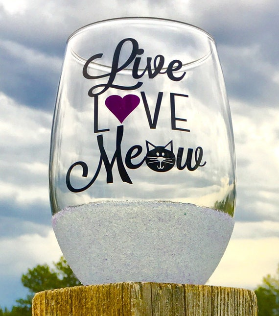 Cat Meow Stemless Wine Glass