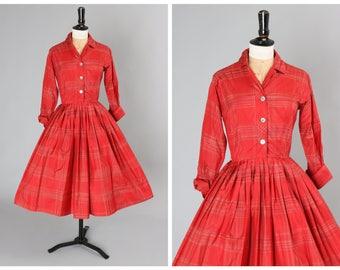 Vintage original 1950s 50s 1960s 60s silk plaid print dress w full skirt by Miss Serbin UK 6 US 2 XS