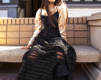 edwardian black lace tiered ruffled lawn skirt
