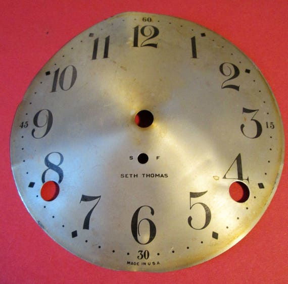 "Old, Dented and Faded 5"" Tin Seth Thomas Clock Dial for your Clock Projects, Steampunk Art & Etc.."