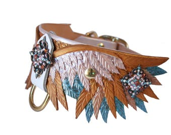Phoenix Wing Hand Tooled Leather Dog Collar (w/conchos)