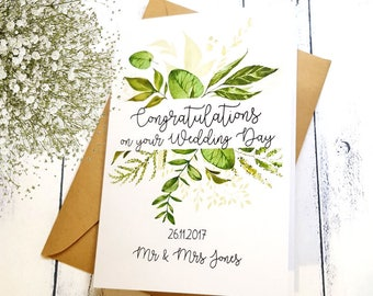 Botanical Congratulations on your Wedding Day Card | Botanical Wedding Card | Personalised Wedding Card | Vow Renewal Card | Engagement
