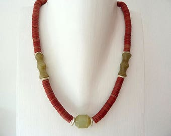 African necklace red bakelite tiles and jade