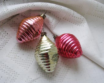 Set of 3 Vintage Soviet Christmas tree decoration, Pink Gold Mercury Glass Ornament, Christmas decor, Retro Tree decoration, M