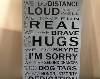 We do deployment wooden sign