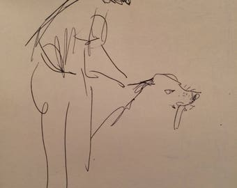 New Man with Dog, unfinished Sketch in Ink,  on paper, shipped in tube. Reproduction, copyright 2013 D Messenger
