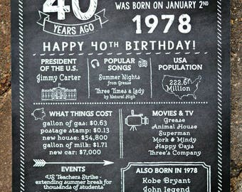 PRINTED 40th birthday poster, Back in 1978, What Happened in 1978, 40th Birthday Decorations, Black and White Party Decor, Vintage 1978