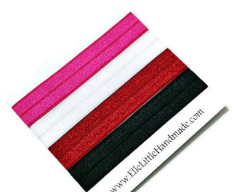 Sewn Hair Ties, Black, White, Pink, and Red, Valentine's Day Hair Bands, Ponytail Holders, Fold Over Elastic, Hair Elastics, Blond Brunette