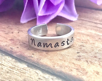Namaste  - hand stamped ring - very sturdy ring - great gift - fun piece of jewelry - inspirational piece ring cuff - adjustable ring