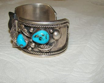 NA 3-H Sterling & Turquoise NA Watch Bracelet
