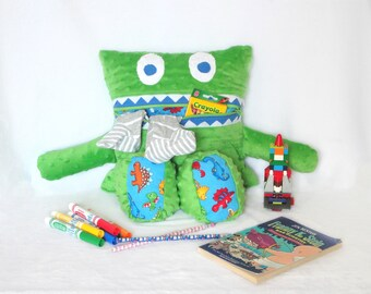 Dinosaur Monster Pajama Eater/ Monster Pajama Holder/ Pajama Bag Stuffie/ Stuffed Monster Pillow/ Travel Buddy/ Secret Keeper