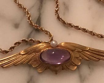 "Wings to fly Victorian 14k gold & Amethyst necklace 16.5""."