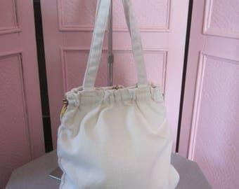 """1970s Unused White Linen Handbag by """"Burlington Handbags"""""""