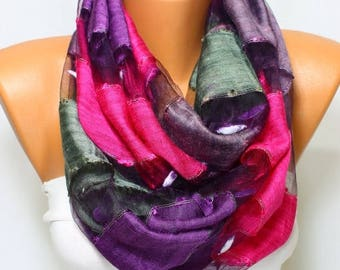 Fuchsia Scarf Smokey Gray Scarf Purple Scarf Lilac Scarf Lightweight Scarf Spring Scarf Summer Scarf Gift Ideas For Her For Mom