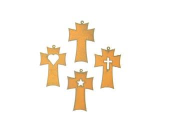 Traditional Cross Rusty Metal Ornament Assortment