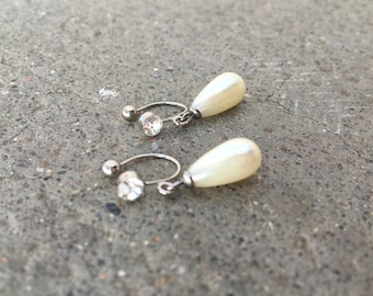 CLIPS U rhinestone with Pearl drops white earrings, everyday jewelry