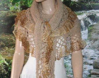 Beige Gold Wedding Shawl, Bridal Shawl, Bridal Wedding Stole,White Shawl, Hand Knit Shawl, Wedding capelet, Bridesmaid Shawl