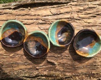 Set of 4 Small Ceramic Aqua and Mahogany Dipping Dish