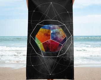 Towel - Space Geometry Rainbow Hex Towel