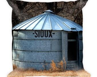 Square Pillow - Red Silo Original Art - Sioux Bin